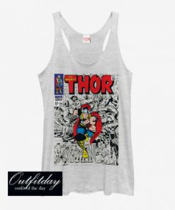 Marvel Mighty Thor Comic Book Cover Print Girls Tank Top