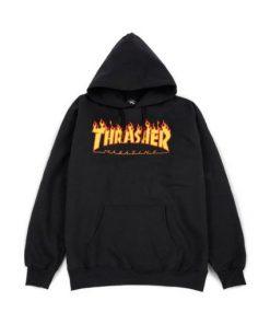 Thrasher Magazine Flame Hoodie black