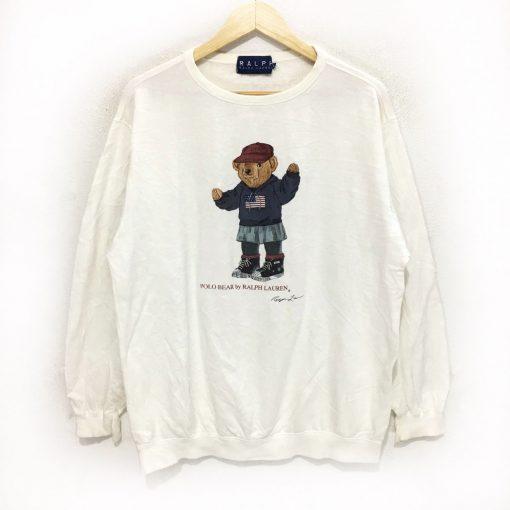 Vtg Polo Bear Ralph Lauren White Sweatshirt B22