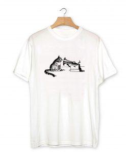 Retro 70s CAT + PHONOGRAPH T-Shirt PU27