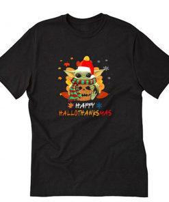 Baby Yoda Happy HalloThanksMas T-Shirt PU27